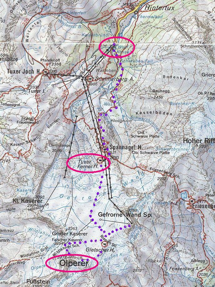 triglav túra térkép Karsai Mihály honlapja   1993. július Olperer magashegyi túra